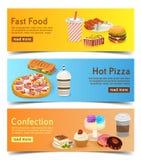 Fastów food sztandary dla rozkaz dostawy online set hamburgery, pizza i desery, ilustracji