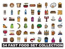 54 fastów food ustalony inkasowy logo ilustracja wektor