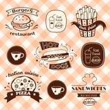 Fastów food znaki ustawiający Fotografia Royalty Free