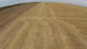 Fast Aerial footage of harvester at work in paddock stock footage