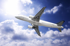 Fast airplane. In the sky Stock Photo
