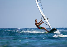 Fast approaching windsurfer Stock Photos