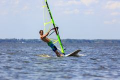 Fast approaching windsurfer Royalty Free Stock Photography