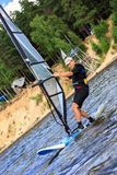Fast approaching windsurfer Royalty Free Stock Images