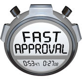 Fast Approval Words Stopwatch Timer Approved Loan Mortgage Credit. The words Fast Approval on a stopwatch or timer to illustrate speed in response and answer vector illustration