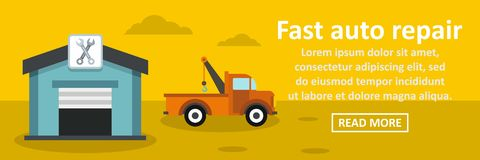 Fast auto repair banner horizontal concept. Flat illustration of fast auto repair banner horizontal vector concept for web Royalty Free Stock Photo