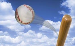 Fast Baseball Hit. Royalty Free Stock Image