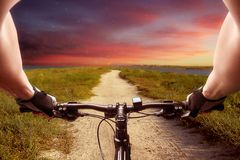 Fast bicycle ride Stock Photography