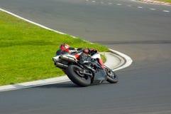 Fast biker. Riders training at the Hungaroring circuit Royalty Free Stock Images