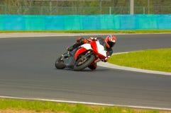 Fast biker. Riders training at the Hungaroring circuit Royalty Free Stock Photo