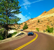 Fast blue car. Old blue car in Zion National Park, Utah, USA Royalty Free Stock Image