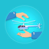 Fast Blue and Gray Helicopter on Blue Background. Fast modern blue and gray helicopter on blue background. Type of rotorcraft in which lift and thrust are Stock Photo