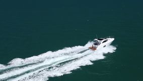 Fast boat aerial view stock video footage