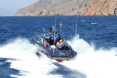 Fast boat of the Spanish Customs Service. Royalty Free Stock Photo