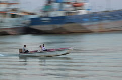 Fast Boat. Tourists riding boat in the river near Khorramshahr, Iran Royalty Free Stock Image