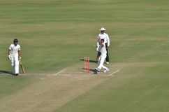 Fast Bowlers Action in Ranji Trophy Cricket Macth Royalty Free Stock Images