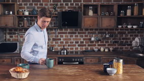 Fast breakfast at home. stock video footage