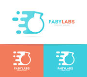 fast bulb logo combination. Speed lab bottle symbol or icon. Unique science and laboratory logotype design template. Royalty Free Stock Photo