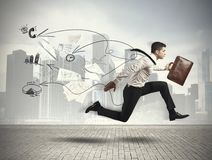 Fast business. Concept of Fast business with running businessman Royalty Free Stock Images