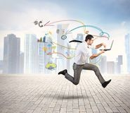 Fast business. Concept of fast business with running businessman Royalty Free Stock Image