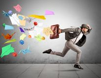 Fast business. Concept with running businessman Stock Photos