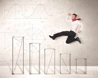 Fast business man jumping up on hand drawn charts Stock Photos