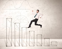 Fast business man jumping up on hand drawn charts Stock Photography