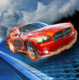 Fast car. A rust colored sporty car speeds down a blue textured highway with a cloudy background. This is a dodge charger with a hemi engine Royalty Free Stock Image