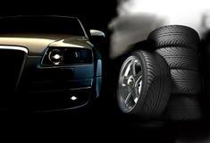Fast car. On а dark background Royalty Free Stock Photo