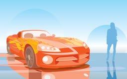 Fast car. Vector image of orange fast car Stock Photo
