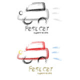 Fast car. Concept illustration of a fast car express service Stock Images