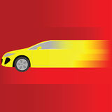 Fast car. Illustration of a fast yellow car speeding Stock Photography