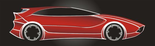 Fast Car. Illustration of a red sport concept car on black background Stock Photo