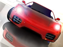 Fast car. Red sport nad fast car over mirror; three dimensional shape Stock Photos