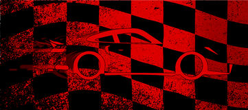 Fast Car Chequered Flag. A dirty red and black grunge fx checkered race flag with a fast car Stock Photos