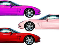 Fast Car Collection. Different colored car props over white Stock Image