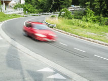 Fast car in the curve Royalty Free Stock Photos