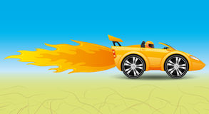 Fast car in the desert. Illustration of yellow fast car in the desert Royalty Free Stock Image