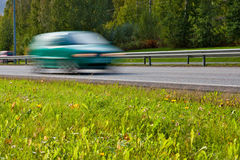 Fast car on highway Stock Image