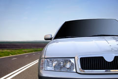 Fast car on the highway.closeup Royalty Free Stock Photography
