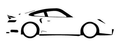 Fast Car Outline. A fast car in silhouette over a white background Royalty Free Stock Images
