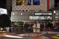 Fast car at Shibuya train station , Tokyo, Japan. The view of cars moving fast at the crosswalk of Shibuya stat Stock Image