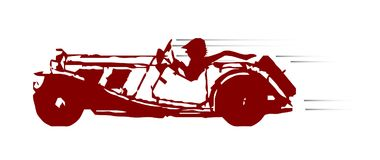 Fast Car Sketch On White. A typical old fashioned open top fast sport car over a white background Royalty Free Stock Images
