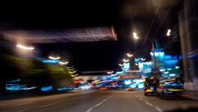 Fast car trip time lapse on the highway by night seen from the car. Night drive Fast car trip on the highway by night seen from the car stock footage