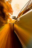 Fast car white in campaign. Car that runs fast in the country Royalty Free Stock Photo