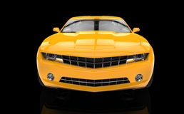 Fast car yellow - front view Royalty Free Stock Images