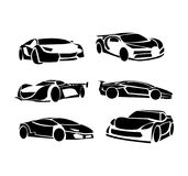 Fast cars logo designs. Set of six different logo designs of various models of sport fast cars Royalty Free Illustration