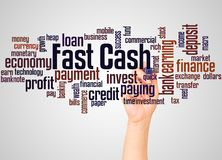 Fast Cash word cloud and hand with marker concept. On gradient background stock photo