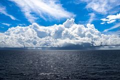 Weather changing in Tropes, Coumulonimbus Clouds over Pacific Ocean, South Sea Stock Image