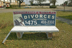 Fast Cheap Divorce for $475 on bench advertisement in Pensacola Florida Royalty Free Stock Image